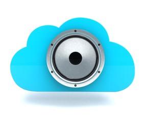 3D illustration of cloud with speaker