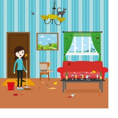 Cartoon funny girl cleaning dirty room