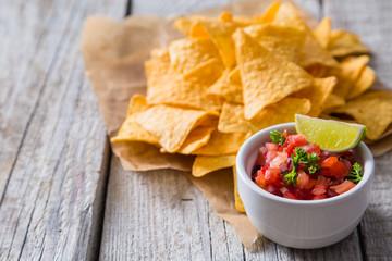 Nachos and salsa sauce ingredients