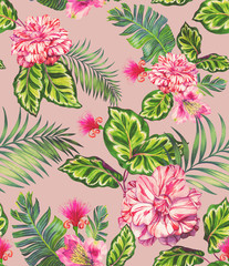 seamless pattern with rose, camellia, succulents.