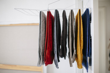 colorful towels hang to dry