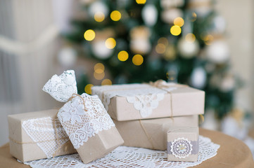 Decoration element creative ideas with lace and linen on Christmas lights background