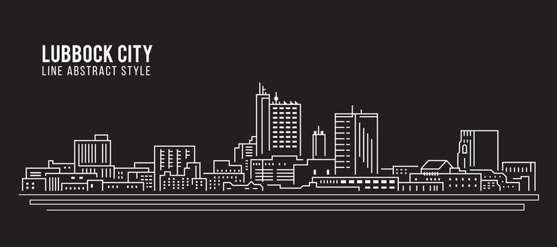 Cityscape Building Line art Vector Illustration design - Lubbock city