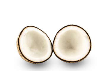 Coconut half isolated on white Background with Clipping Path
