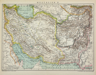 1899 published West Asia antique political map, from the german Brockhaus Conversation Encyclopedia  14th edition, 17 volumes.
