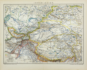 899 Central Asia antique political map also showing Russian, Chinese, British occupation, from the german Brockhaus Conversation Encyclopedia  14th edition, 17 volumes.