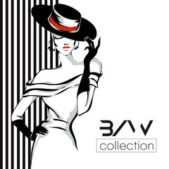 Black and white fashion woman model with boutique logo background. Hand drawn vector