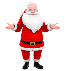 Santa Claus shrugged isolated on a white background. 3D rendered
