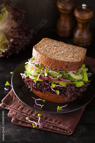"""avocado cucumber sandwich with onion and radish sprouts"""" Stock photo ..."""