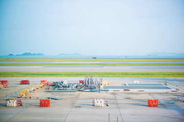runway for airplane at Hong Kong airport