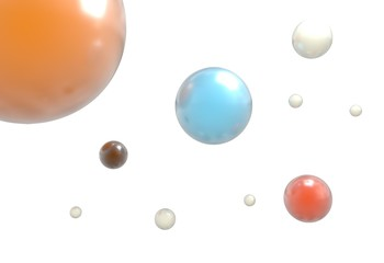 flying reflective colorful balls isolated on white 3d illustration