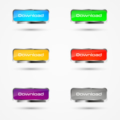Set of colored download buttons with metal frame, vector illustration, isolated