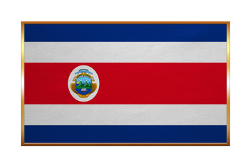 Flag of Costa Rica, golden frame, fabric texture