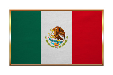 Flag of Mexico, golden frame, fabric texture