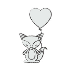 Fox cartoon in love icon. Animal cute adorable creature and friendly theme. Isolated design. Vector illustration