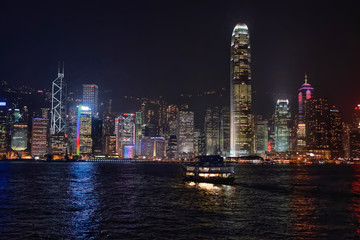 Skyline at the Victoria Harbor of HK