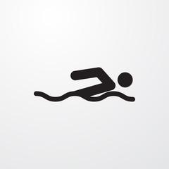 swimming man icon illustration