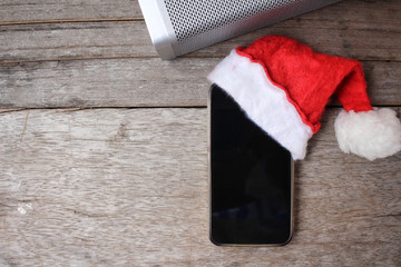 Bluetooth speaker with smart phone and  christmas hat
