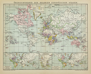 Antique map world colonies of the European states in the 19th Century, from the german Brockhaus Conversation Encyclopedia  14th edition.