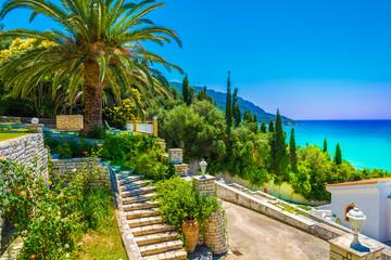 Wall Mural - View of palm tree and house in Agios Georgios Pagon village, Corfu island, Greece