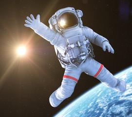 Astronaut waving, 3d render,