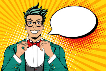 Wow pop art face. Young man in a suit and glasses with smile corrects his bow tie. Vector illustration in retro comic style. Colorful pop art background. Party invitation.