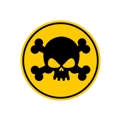 Danger Poison sign yellow. Attention toxic hazard. Warning sign
