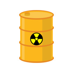 Chemical waste yellow barrel. Toxic refuse keg. Poisonous liquid