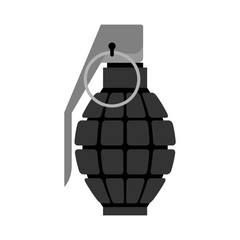 Military Grenade black . Army explosives. Soldiery ammunition. E