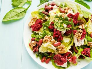 Salad herbs and marinated veggies