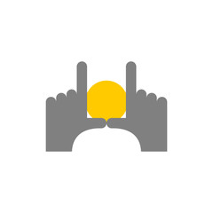 Hands and dawn abstract logo. Pointing fingers frame. Find good
