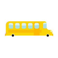 School Bus cartoon style. Transport on white background. Car iso