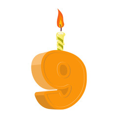 9 years birthday. Number with festive candle for holiday cake. n
