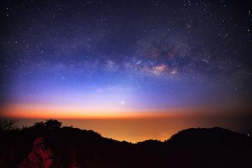 Milky Way Galaxy at Doi Luang Chiang Dao before sunrise. Long ex