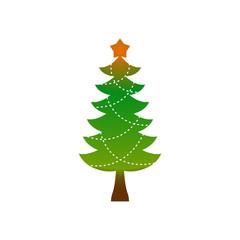 Christmas tree emblem. Symbol of new year. fir-tree logo