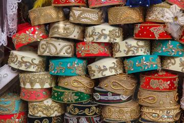 Colorful hats uzbekos. Market in Tashkent. Uzbekistan
