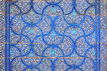 Colorful tiles on the wall. Uzbekistan