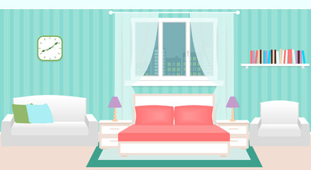Bedroom interior with furniture and cityscape outside the window.