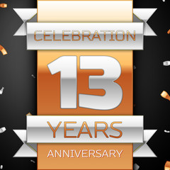 Thirteen years anniversary celebration golden and silver background. Anniversary ribbon