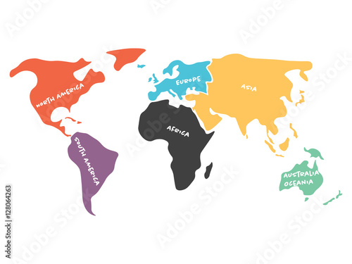 World map divided to six continents in black north america south world map divided to six continents in black north america south america africa europe asia and australia oceania simplified black outline of blank gumiabroncs Choice Image