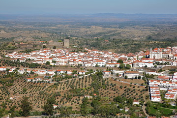 CASTELO DE VIDE, PORTUGAL: Aerial view ot the old town