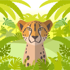 Cheetah on the Jungle Background