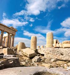 Fototapete - Ancient stones around Parthenon on the Acropolis, Athens, Greece