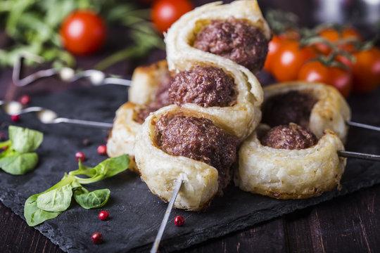 meatballs in the dough