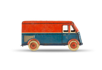 Vintage tin toy car. Red and blue truck on white background