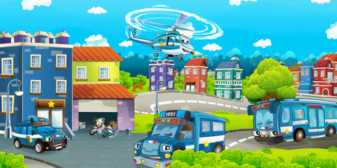 Cartoon stage with different machines for police duty - colorful and cheerful scene - illustration for children