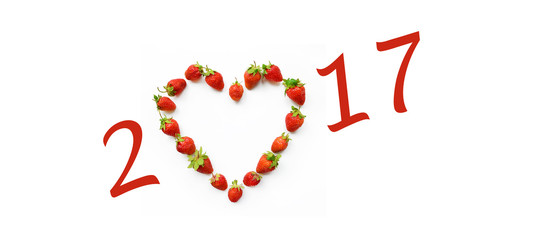 Christmas motif with heart shaped strawberries (2017, New Year c