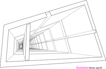 building structure abstract, 3d illustration, vector