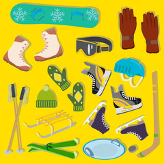 Icons of winter sports equipment on a yellow background