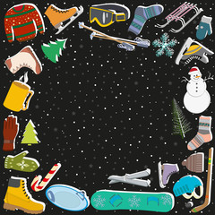 equipment for winter sports and winter symbols on the background of snowfall